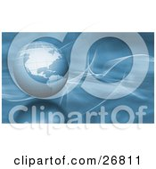 Clipart Illustration Of A Blue Globe Of Earth Over A Blurred Background With White Wispy Waves And A Reflective Surface