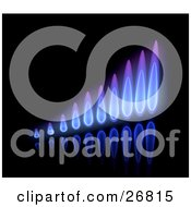 Clipart Illustration Of A Bar Graph Of Purple And Blue Gas Flames On A Reflective Black Background by KJ Pargeter