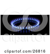 Circle Of Blue And Purple Gas Flames On A Black Background