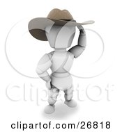 Clipart Illustration Of A Western Cowboy White Character Wearing A Stetson Hat And Shielding His Eyes by KJ Pargeter