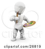 Clipart Illustration Of A White Character Holding A Paintbrush And A Paint Palette by KJ Pargeter