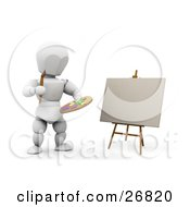 Clipart Illustration Of A White Character Holding A Paint Palette And Painting Artwork On Canvas On An Easel