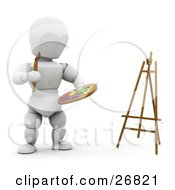 White Character Standing By An Easel And Holding A Paintbrush And Paint Palette