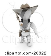 Western Cowboy Outlaw White Character In A Stetson Hat Holding A Smoking Pistil