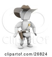 Clipart Illustration Of A Western Sheriff White Character In A Stetson Hat Preparing To Grab His Pistil