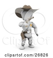 Clipart Illustration Of A Western Sheriff White Character In A Stetson Hat Holding A Pistil And Warning A Criminal To Surrender