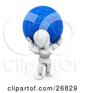White Character Carrying A Heavy Blue Globe On His Back