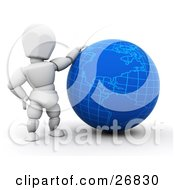 White Character Resting His Arm On A Blue Globe
