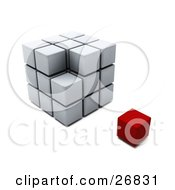 Clipart Illustration Of A Red Block Resting Beside An Incomplete Puzzle Cube by KJ Pargeter