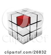 Red Block On The Corner Of A White Puzzle Cube