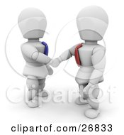 Poster, Art Print Of White Characters In Ties Shaking Hands On A Business Deal