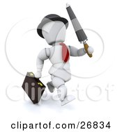 White Character Businessman In A Red Tie Running With An Umbrella And A Briefcase by KJ Pargeter