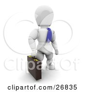 Clipart Illustration Of A White Character Businessman In A Blue Tie Carrying A Briefcase by KJ Pargeter