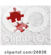 Clipart Illustration Of A Red Jigsaw Puzzle Piece Resting On Top Of A White Puzzle