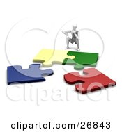 Clipart Illustration Of A White Figure Character Crouching In Front Of Four Colorful Jigsaw Pieces