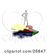 Clipart Illustration Of A White Figure Character Wondering How To Fit Four Colorful Jigsaw Pieces In A Pile