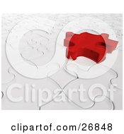 Clipart Illustration Of A Red Jigsaw Puzzle Piece Hovering Above A Space On A White Puzzle