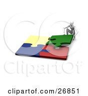 Clipart Illustration Of A White Figure Character Crouching And Fitting Four Colorful Jigsaw Together