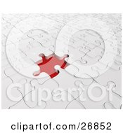 Clipart Illustration Of A Missing White Jigsaw Puzzle Space Showing Red Underneath