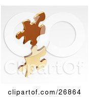 Clipart Illustration Of A Golden Jigsaw Puzzle Piece Reflecting On A White Surface