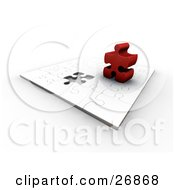 Clipart Illustration Of A Thick Red Jigsaw Puzzle Piece Standing Up On Top Of A White Puzzle