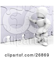 Clipart Illustration Of A White Character Leaning Against A Competed Jigsaw Puzzle Wall
