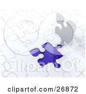 Clipart Illustration Of A White Jigsaw Puzzle Piece Standing Up Over A Blue Space