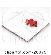 Clipart Illustration Of A Red Jigsaw Puzzle Piece Hovering Above A Nearly Completed White Puzzle