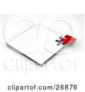 Clipart Illustration Of A Red Jigsaw Puzzle Piece Finalizing The Corner Of A Completed White Puzzle