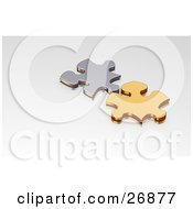 Clipart Illustration Of Gold And Silver Puzzle Pieces Resting On A White Surface