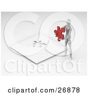 Clipart Illustration Of A White Figure Character Holding A Red Jigsaw Puzzle Piece And Standing Above The Nearly Completed Game