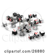 Clipart Illustration Of A Partially Dissembled Red And White Puzzle Cube by KJ Pargeter