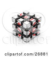 Fully Assembled Red And White Puzzle Cube