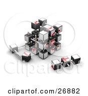 Partially Assembled Red And White Puzzle Cube