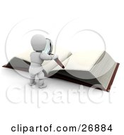 Clipart Illustration Of A White Character Standing In Front Of A Giant Book With Blank Pages Holding A Magnifying Glass