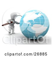 Clipart Illustration Of A White Character Viewing A Globe With A Magnifying Glass