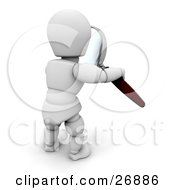 Clipart Illustration Of A White Character Examining With A Magnifying Glass