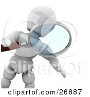 White Character Peering Through A Magnifying Glass