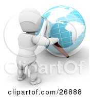 Clipart Illustration Of A White Character Inspecting A Globe With A Magnifying Glass