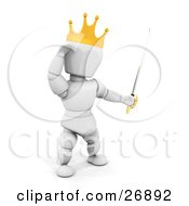 King White Character Wearing A Golden Crown And Holding A Sword