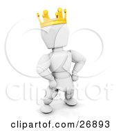 King White Character Wearing A Golden Crown And Standing With His Hands On His Hips