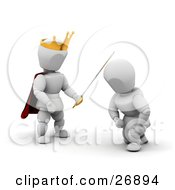 King White Character Wearing A Golden Crown And Knighting A Kneeling Knight With A Sword by KJ Pargeter