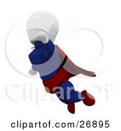 Clipart Illustration Of A White Character Super Hero In A Cape And Suit Flying Through The Sky