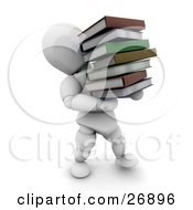 Clipart Illustration Of A White Character Carrying A Heavy Stack Of School Or Library Books