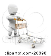 Clipart Illustration Of A White Character Pushing A Luggage Trolley Towards Baggage Claim In An Airport