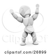 Clipart Illustration Of A White Character Hollering With Joy And Holding His Arms Up In The Air by KJ Pargeter
