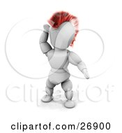 Punk Rocker White Character With A Red Mohawk