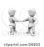 Poster, Art Print Of Two White Characters In Shaking Hands On A Business Deal
