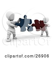 Clipart Illustration Of Two White Characters Holding Red And Blue Jigsaw Puzzle Pieces And Trying To Fit Them Together