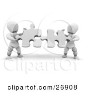Clipart Illustration Of Two White Characters Holding White Jigsaw Puzzle Pieces And Trying To Fit Them Together